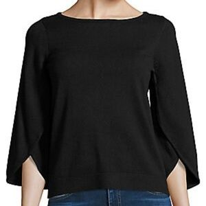 Milly Black Butterfly Split 3/4 Sleeve Sweater L